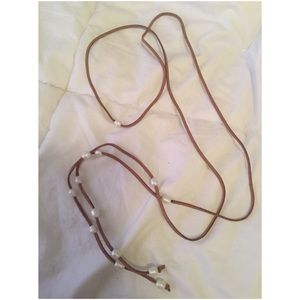 Jewelry - Leather and Pearl Wrap Necklace/lariat